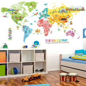 100*200CM Large Animal World Map Home Decor Wall Sticker Cartoon Kids Rooms Nursery Home Decor Poster Prints Wall Art Pictures(China)