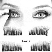 eyelashes on the magnet Lashes Extension kit 4pcs/lot 3D Long Easy To Wear Reusable Fake Eyelashes two/Three magnets