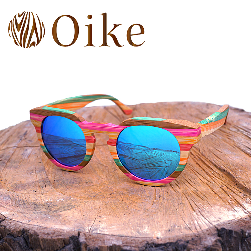 OIKE Fashion Wood sunglasses Women Glass Bamboo Sunglasses Polarized Lens Retro Vintage Wooden Frame Handmade Sun Glasses 2018