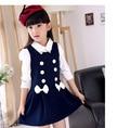 2016 New fashion Girls Princess  Retail Vest dress autumn outfit Dress Children woolen Dresses  HB1083