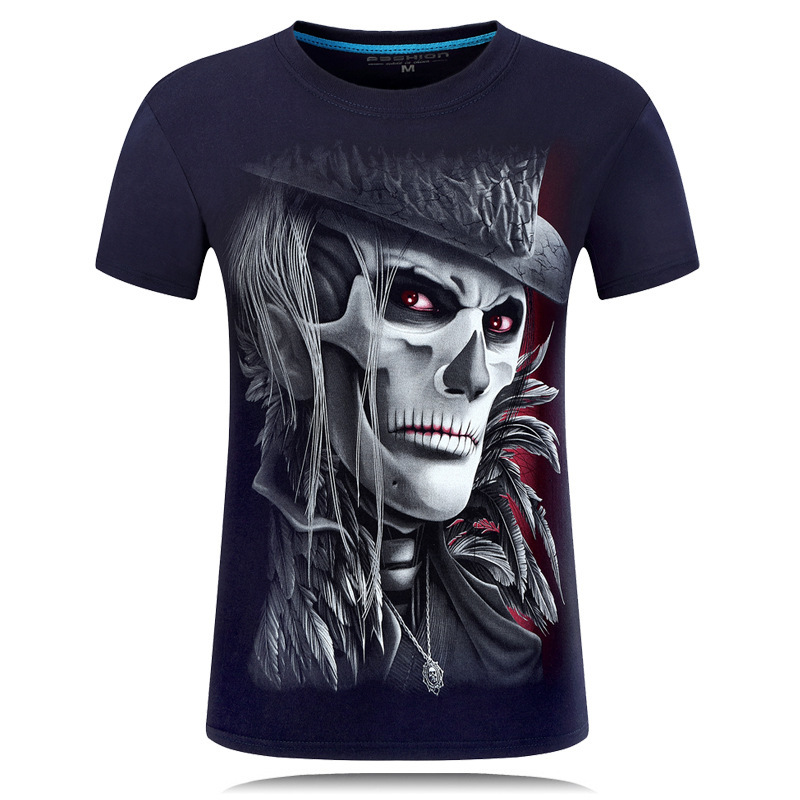 Tops Tees Men's Cotton Short Sleeves T-shirt Casual Skull 3d man printed t-shirts Print  clothing t shirts shirt homme slim fit