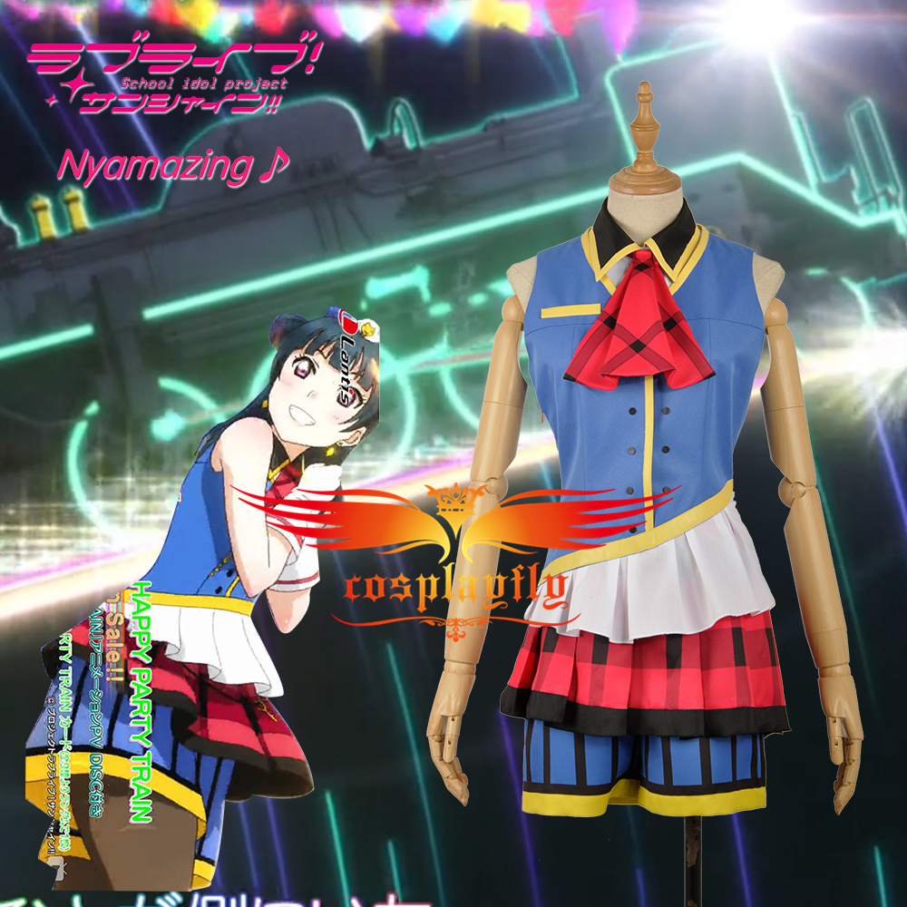 LoveLive!SunShine!! Aqours 3rd Single HAPPY PARTY TRAIN Tsushima Yoshiko Dress Girls Cosplay Costume Adult Women Clothing