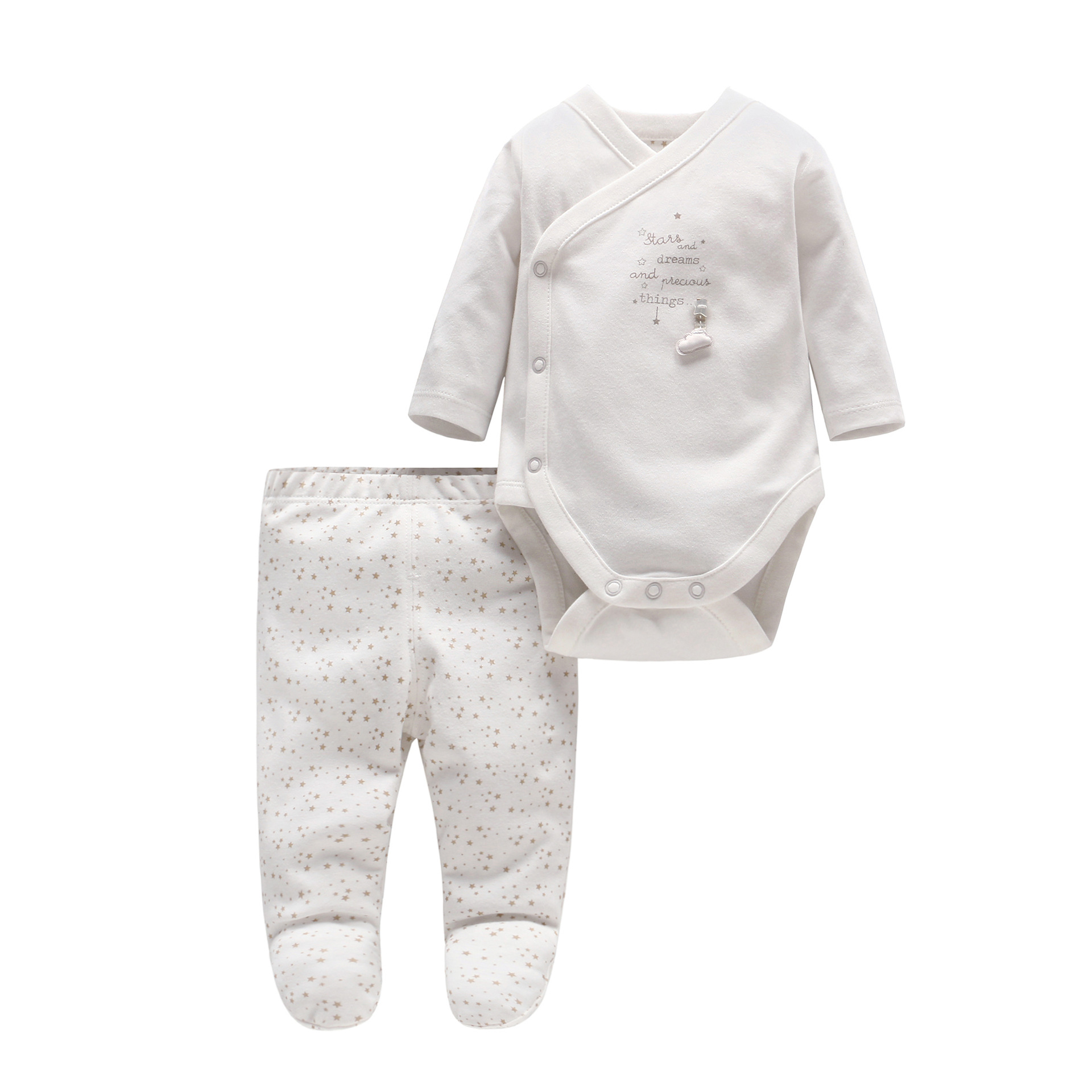 2pcs/set Baby Boy Clothes Set Newborn Baby Cotton Long Sleeve Star And Letter Rompers Set Infant Girl One-piece And Pants Set 2pcs set baby clothes set boy