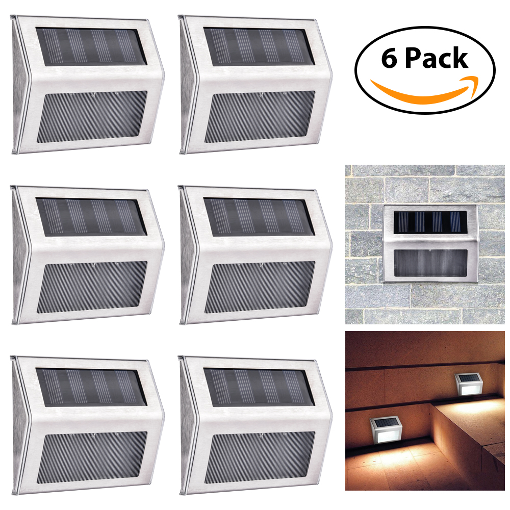 6pcs Upgrade Solor Power Stair Light Stainless Steel Weatherproof Outdoor Energy Saving Solar Wall Lawn Lamp Garden Decoration