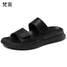 Slippers mens new summer personality leisure outdoor fender men genuine leather slippers flip flop sandals