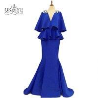 Royal Blue 2017 Arabic Abaya Dubai Mermaid Formal Evening Dresses Crystals V Neck Half Sleeves Long