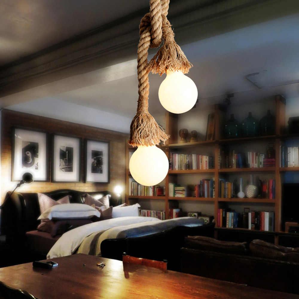 Lixada 100-500 см AC220V E27 двойной головкой винтажная пеньковая веревка подвесной ночник лампа промышленного ретро светильник в стиле кантри