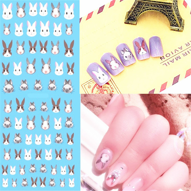 1 Sheet Rabbit Animals Nail Art Stickers Water Decals Transfer Stickers  Manicure Bunny Nail Design Sticker Easter Nail DIY - 1 Sheet Rabbit Animals Nail Art Stickers Water Decals Transfer