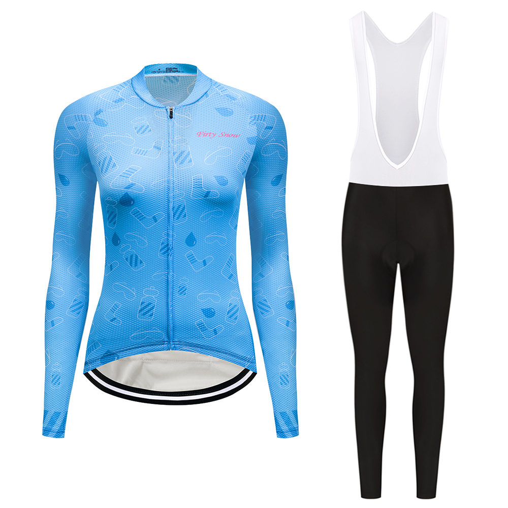 Teleyi Pro Team Long Sleeve Cycling jersey Sets Women Sportswear ropa ciclismo Mtb Bike Bicycle Gel Padded Cycling Clothing 2018