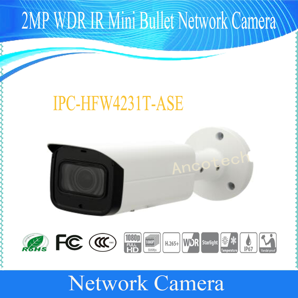 Free Shipping DAHUA Security IP Camera 2MP WDR IR Mini Bullet Network Camera IP67 IK10 With POE Without Logo IPC-HFW4231T-ASE free shipping dh security ip camera 2mp 1080p ir mini dome network camera ip67 ik10 with poe without logo ipc hdbw4231f as