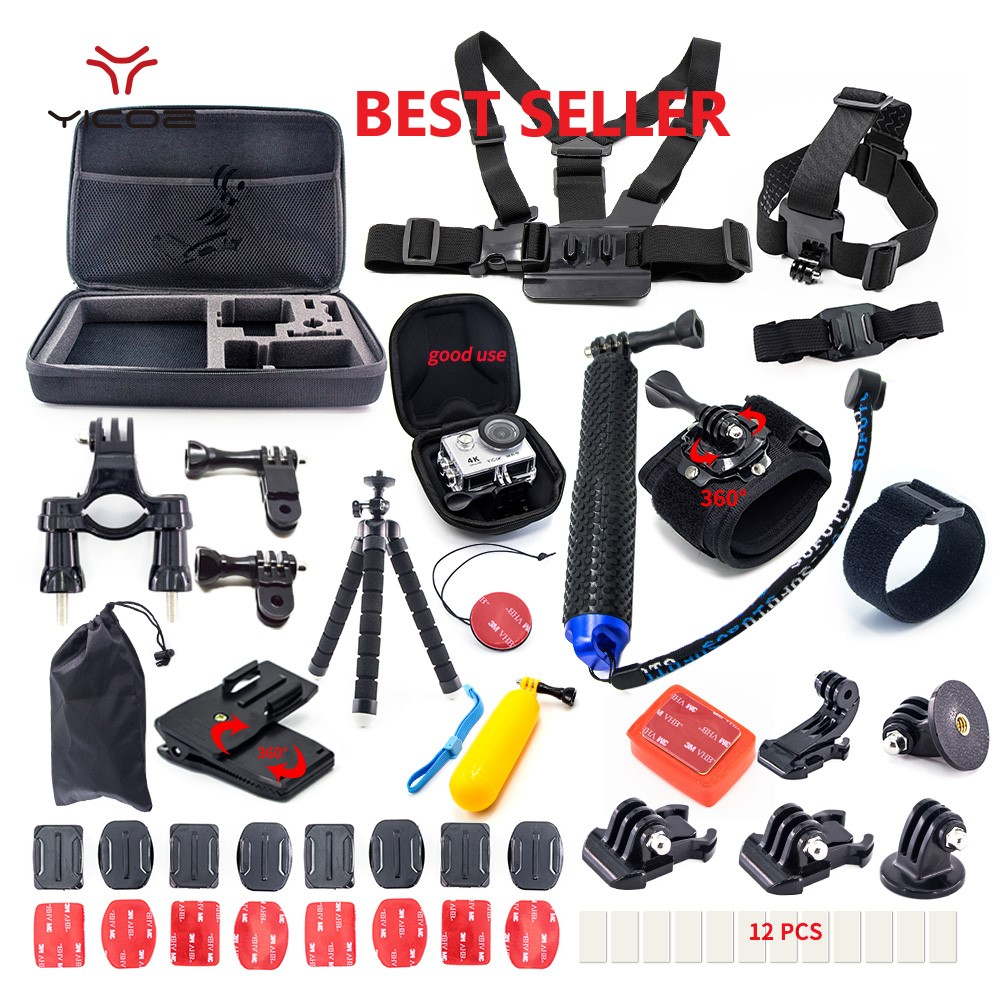Tripod Self Stick Bag for Xiaomi yi 4k mijia Go Pro hero 7 6 Gopro 6 5 4 3 Session SJCAM Action Sport Camera Accessories Kit Set go pro accessories fill light led flash light spot lamp for xiaomi yi gopro hero 5 4 session 3 3 2 sjcam sj6000 sj5000 camera