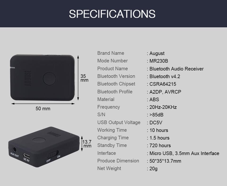 August MR230 APTX Bluetooth Receiver