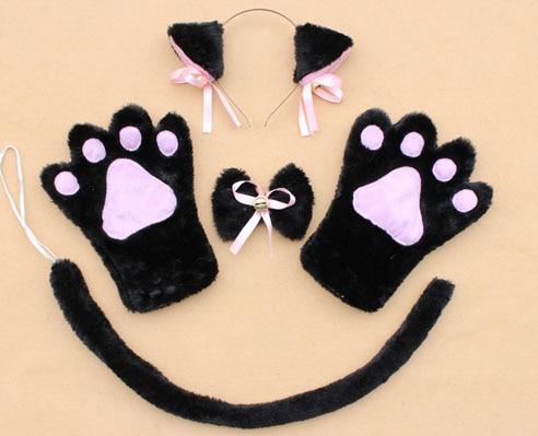 Повязка на голову с ушками neko в виде животных, белого, черного цвета, кота, тигра, аниме, хвоста 60 см, плюшевые перчатки, рождественские, пасхальные, вечерние, для взрослых и детей - Цвет: style 15