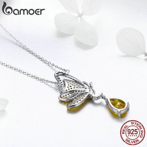 Image 4 - BAMOER New Trendy 100% 925 Sterling Silver Sparkling Dancing Butterfly Pendant Necklaces Women Sterling Silver Jewelry SCN241