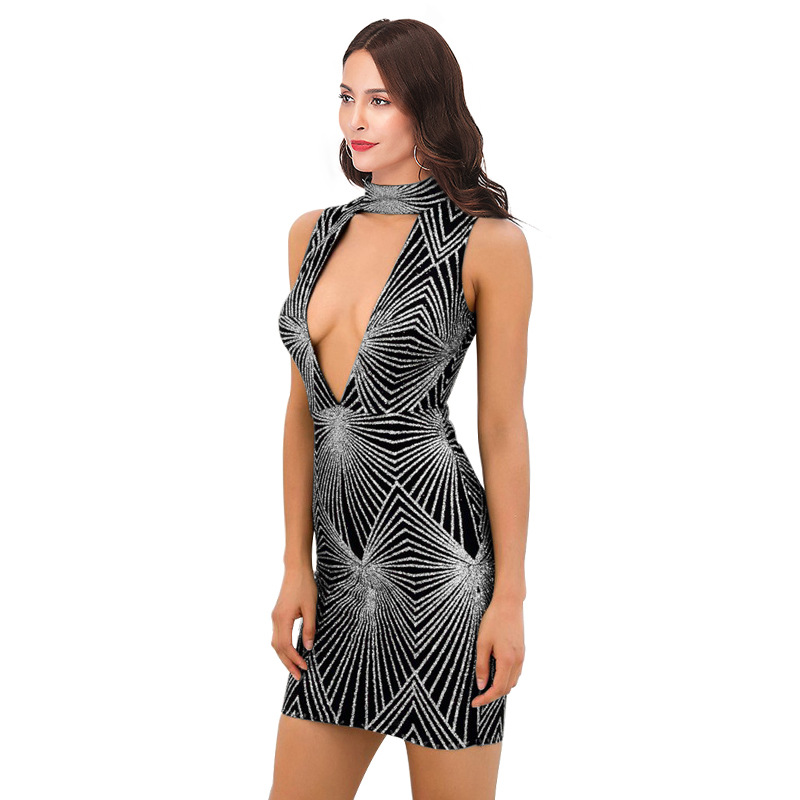a37783e19ac9c 2018 New Summer Black Silver Sequin Dress Women Breasts Hollow Out Sundress  Sexy Club Bodycon Mini Party Dresses Vestidos-in Dresses from Women's  Clothing ...