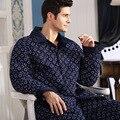 2016 winter men's pajamas long sleeve cotton men's sleepwear suit plaid cardigan pyjamas men pajama sets lounge set