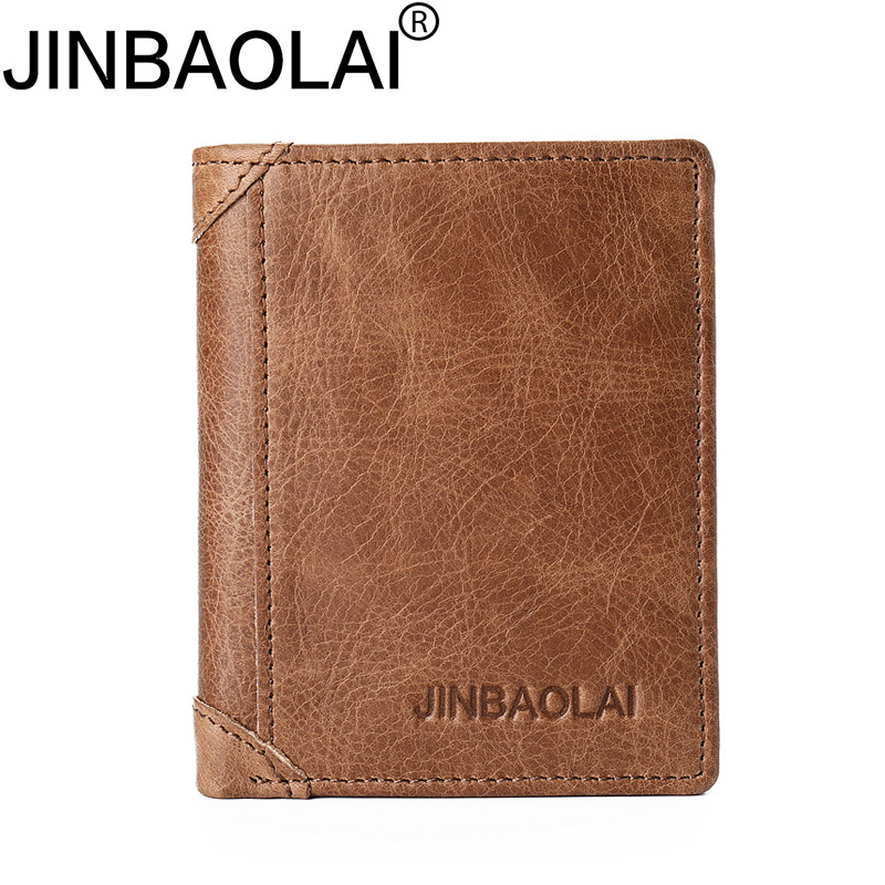 New Arrived Genuine leather man short Wallets Retro cowhide Brown Mens Wallets Credit Ca ...