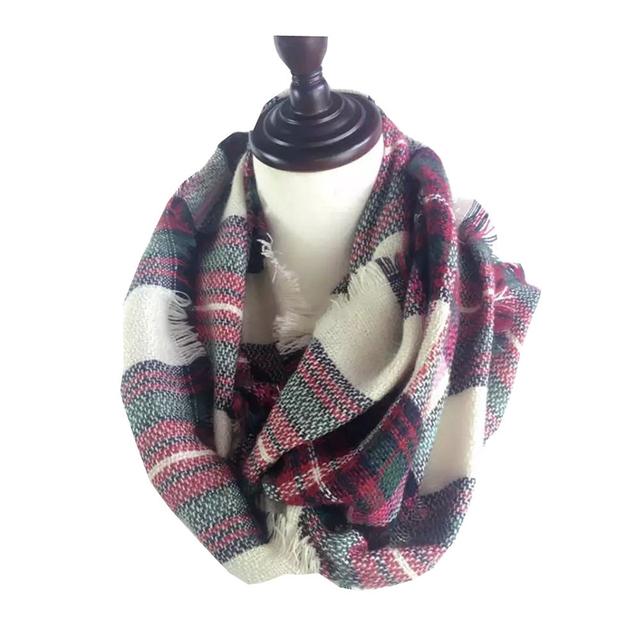Para mujer de Moda Bufandas Tartán Bufanda de Lujo de la Marca de Invierno para Mujer Caliente Anillo Círculo del Cuello de Lana Blend Cowl Snood Bufandas de Cachemira