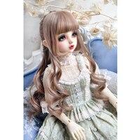 1 PCs brown or black bjd hair long curly wig 1/3 1/4 1/6 bjd doll wig free shipping allaosify