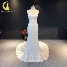 Jialinzeyi Echte Foto Spaghetti Strap Kant Mermaid Sexy Lange Trein Bridal Trouwjurken Wedding Gown Dresse 2020