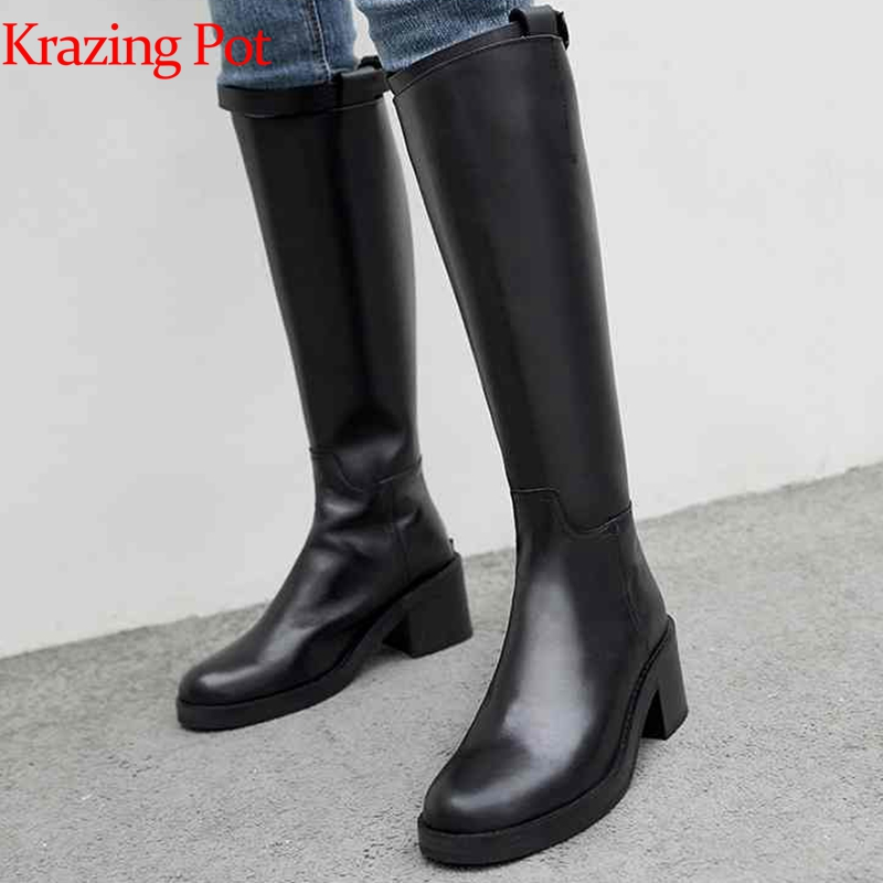 Krazing Pot 2019 genuine leather long boots med heels career women keep warm zipper gentlewomen riding over-the-knee boots L82Krazing Pot 2019 genuine leather long boots med heels career women keep warm zipper gentlewomen riding over-the-knee boots L82