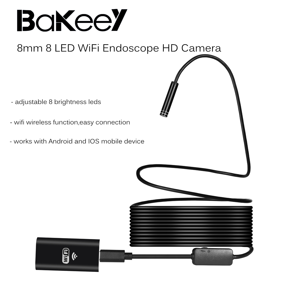 Bakeey WiFi Endoscope 8mm for Android for IOS for Laptop PC 8 Led HD Camera Borescope Waterproof Rigid Soft Cable Wire pipe