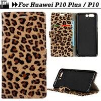 JURCHEN Cover Case For Huawei P10 Plus Cover Wallet Leopard Print 3D Wild Luxury Leather Flip