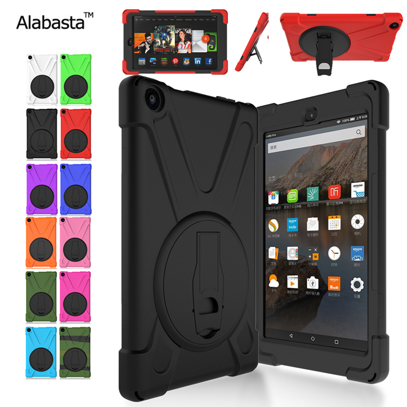 Cover For Amazon Kindle Fire HD 8 2016 Case Drop Shockproof Kid Safe Rugged Armor Impact TPU PC Stand Cover+Stylus Alabasta