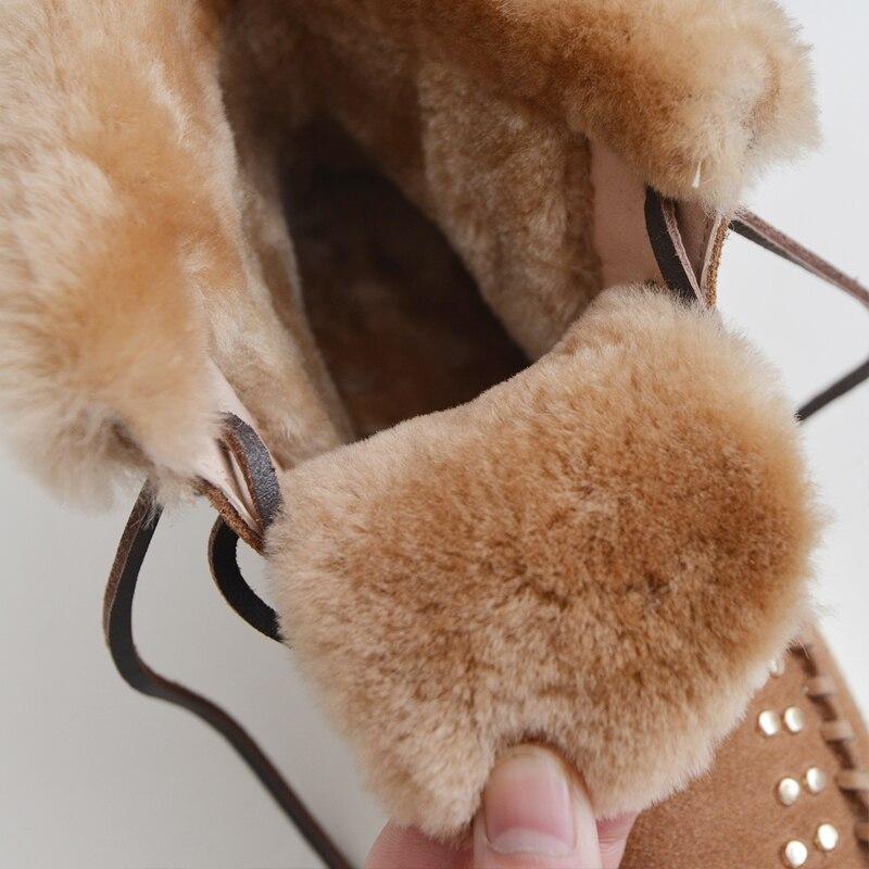 Coton Rivets Ronde Chaussures Femmes Courtes Tête gris Neige Bottes En Chaud Curvaness Laine marron Plat Noir Tube Bretelles De Cuir Mode qtAXa