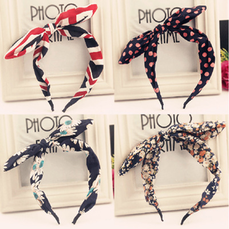 Many Patterns Floral Plaid Colorful Chiffon Cloth Cute Ear Hairbands Headbands Women Fashion Headwear Hair Accessories