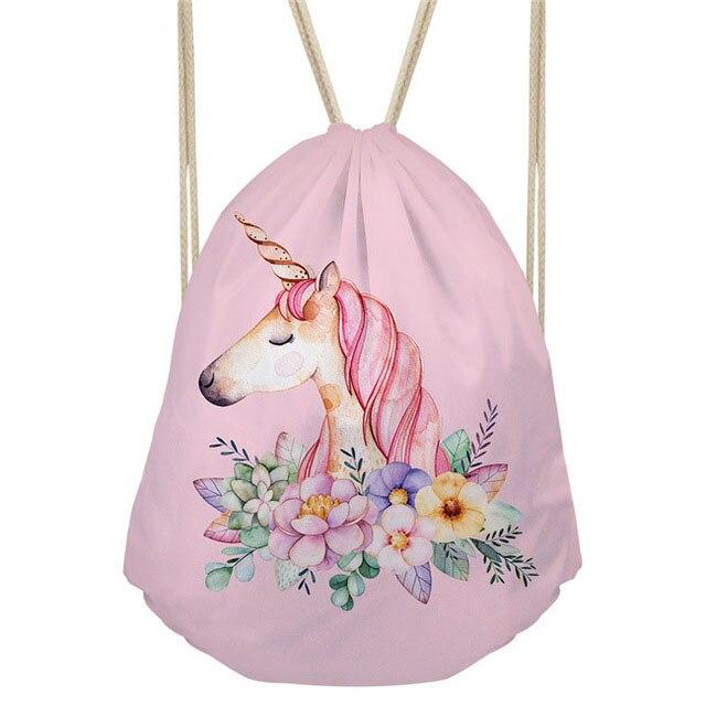 THIKIN Cartoon Unicorn Printing Drawstring Bag Kids Satchel Softback Small Women's Backpack For Girls Cute Daypack Carry On Bag