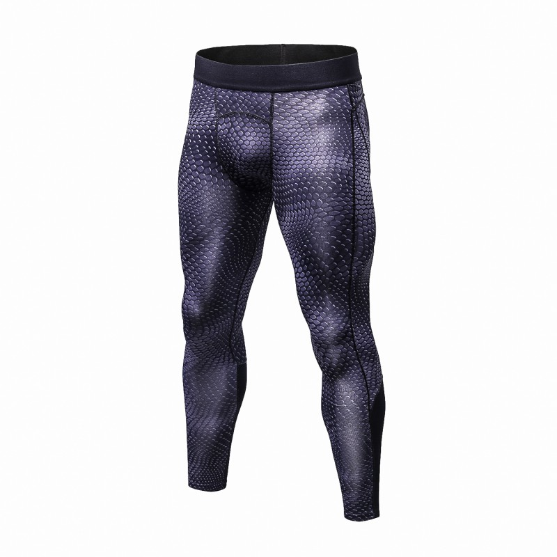 2017 Fashion Men's Snake Scale Quick Dry Elastic Compression Long Pants Fitness Leggings Sportswear