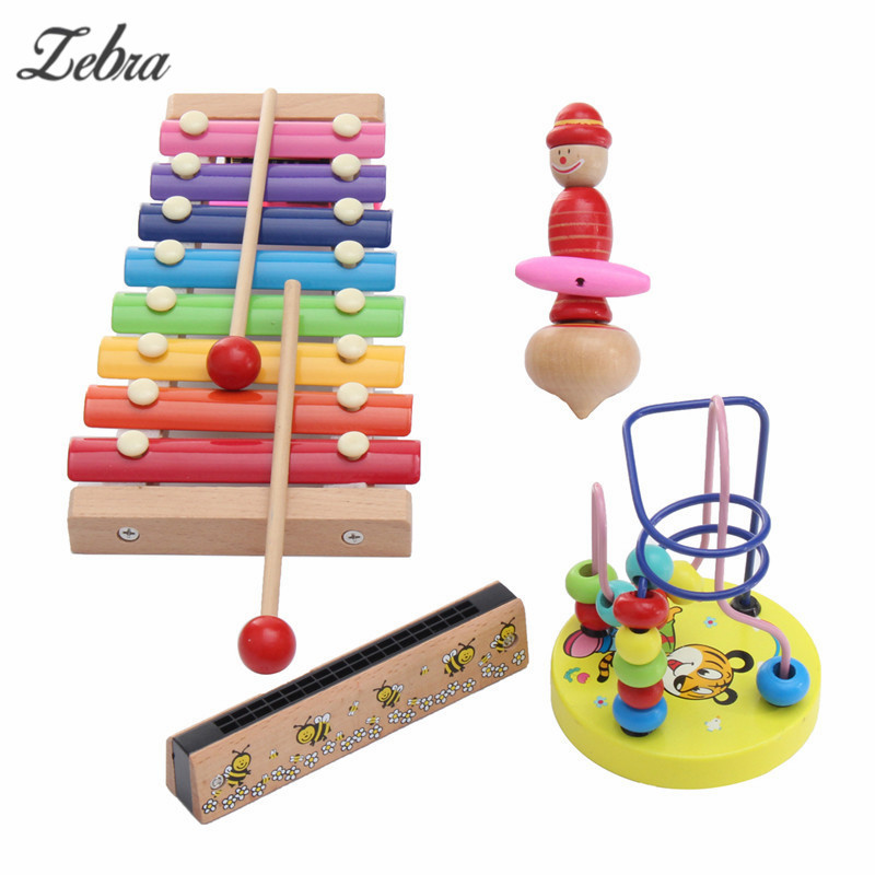 4Pcs Kids Infants Educational Piano Toys Xylophone Wooden Toys Musical Instrument Glockenspiel Toy Gift For Child 30 note xylophone piano fleet foldable glockenspiel vibraphone new music knock e piano percussion instrument and paino bag