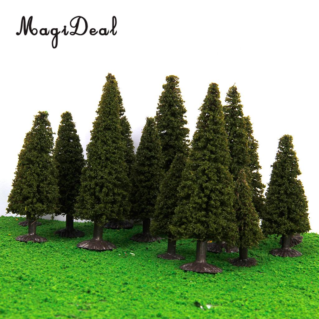 MagiDeal 15Pcs Green Scenery Landscape Model Cedar Trees with PV Box for Model Train Tra ...