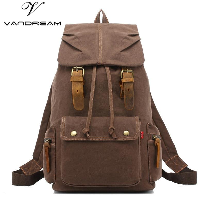 ФОТО Unisex Women Man's Canvas Backpack Travel Schoolbag Male Backpack Men Large Capacity Rucksack Fashion Retro Shoulder School Bag