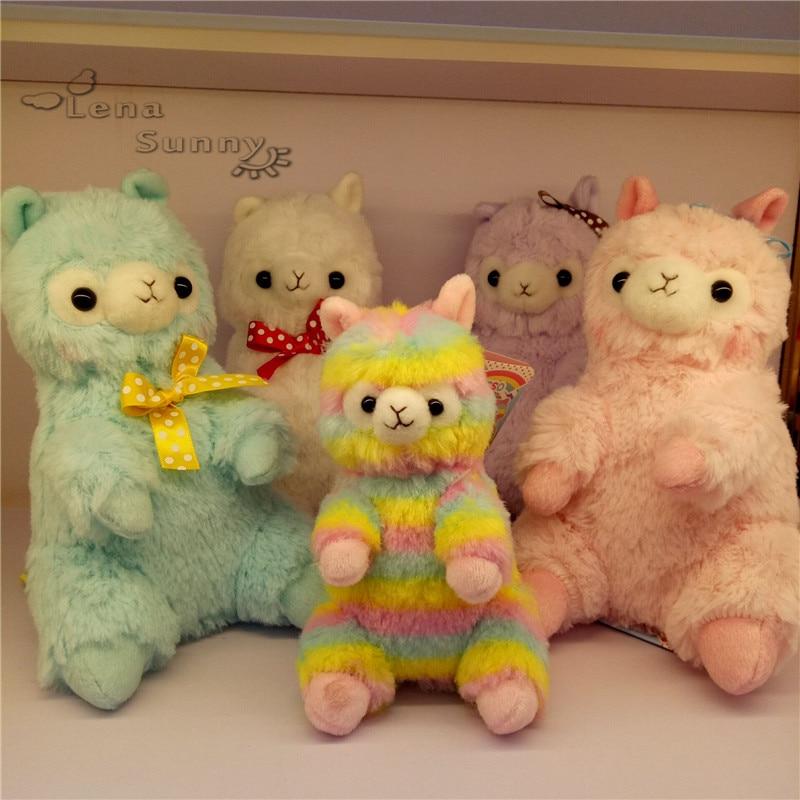 10pc Lot Mixed Color 14cm 19cm Japanese Alpacasso Sitting Rainbow Plush Toy Kids Alpaca Christmas Gifts