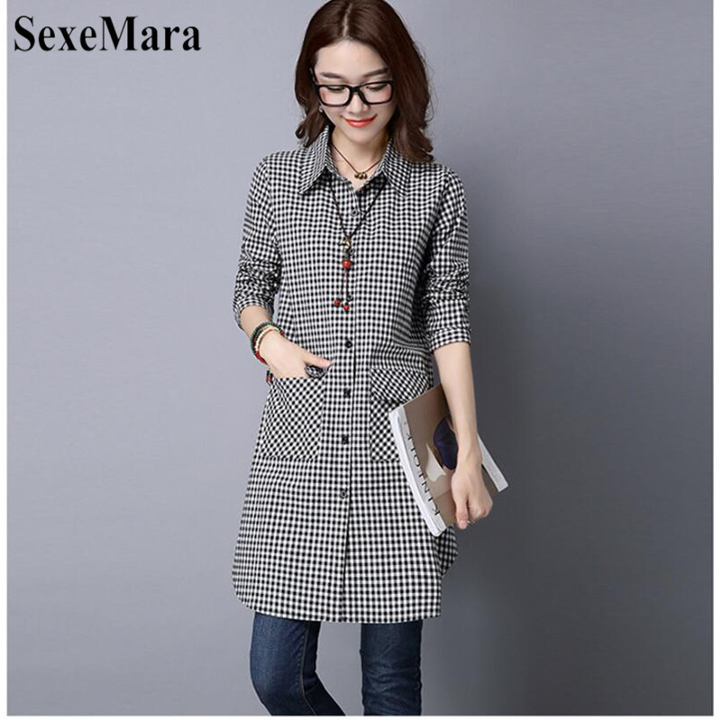 SexeMara Korean Version Of Large Size Lapel Cotton And Black And White Plaid Long Loose Shirt Female Blusas Mujer De Moda 2019 (4)