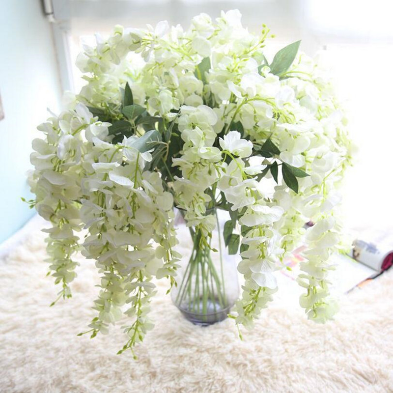 Flone Artificial Wisteria Flower Vine Simulation Flower Lentil Rattan Fake Flowers Plant Wedding Home Background Wall Decor Art