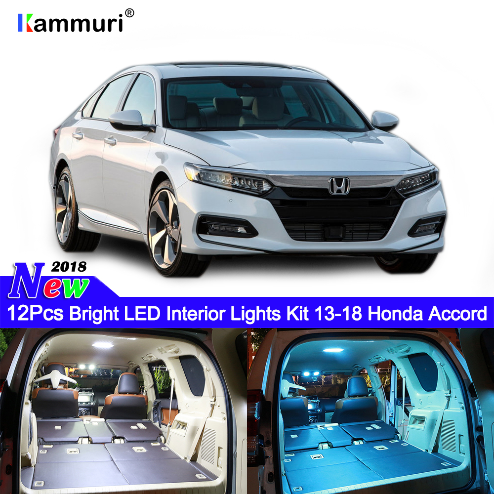 12pcs White LED Interior Lights Kit Fit For 2013-2017 Honda Accord