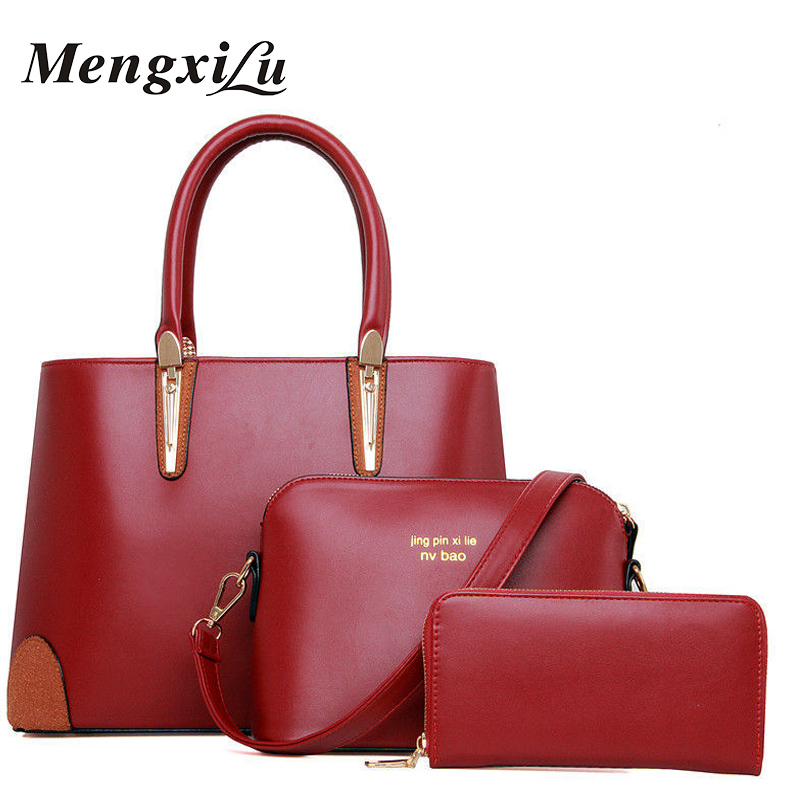 Women Bags 3Pcs/Sets Genuine Leather Handbag Women Large Tote Bags Ladies Shoulder Bag Handbag Messenger Bag+Purse Sac A Main 2018 women messenger bags vintage cross body shoulder purse women bag bolsa feminina handbag bags custom picture bags purse tote