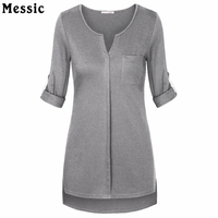 Women Long Sleeve Casual Shirts Summer Top V Neck Cuffed Sleeve High Low Hem Loose Fit