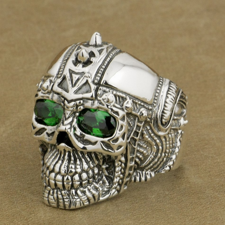 de8f97bab78d LINSION 925 Sterling Silver Gothic Tattoo Skull Ring Green CZ Eyes ...