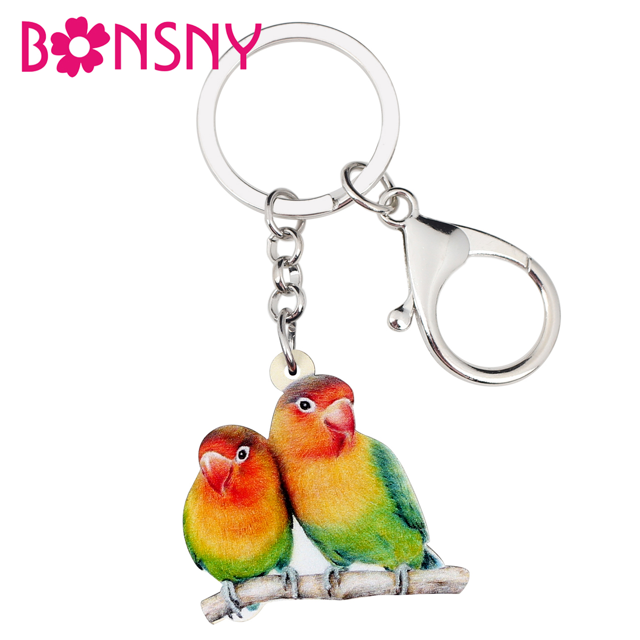 Bonsny Acrylic Africa Fischer's Lovebird Parrot Bird Key Chain Keychains Ring Cute Animal Jewelry For Women Girl Bag Car Pendant
