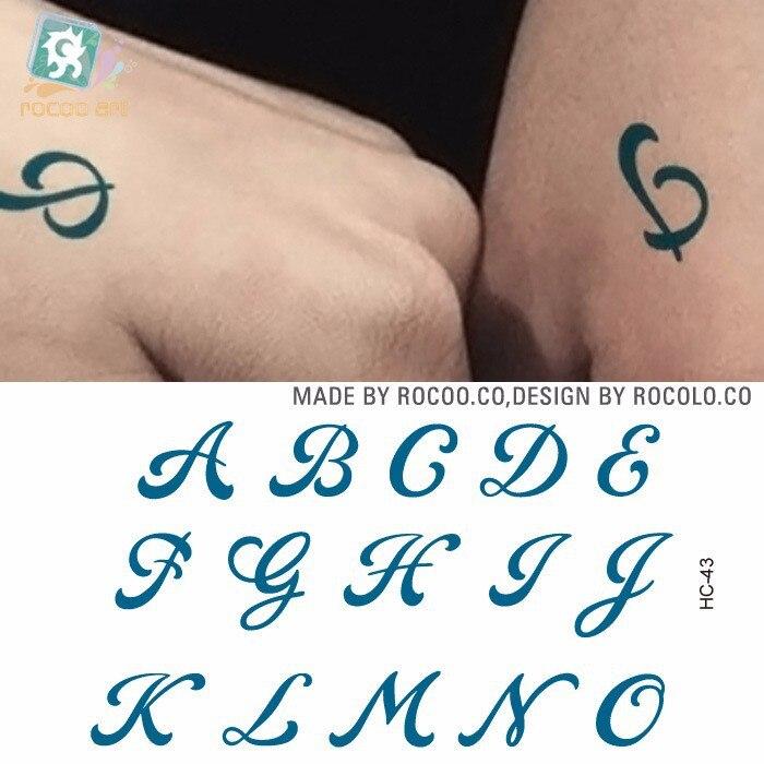 Waterproof Temporary Tattoo Sticker Capital English Letters Alphabet Tattoo Word A-O Tatto Stickers Flash Tatoo Fake Tattoos
