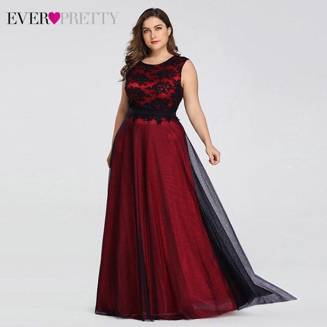 Plus Size Elegant Evening Dresses Ever Pretty Burgundy A-Line Lace Sleeveless Sexy Dress for Party EZ07545 Robe De Soiree 2020 4