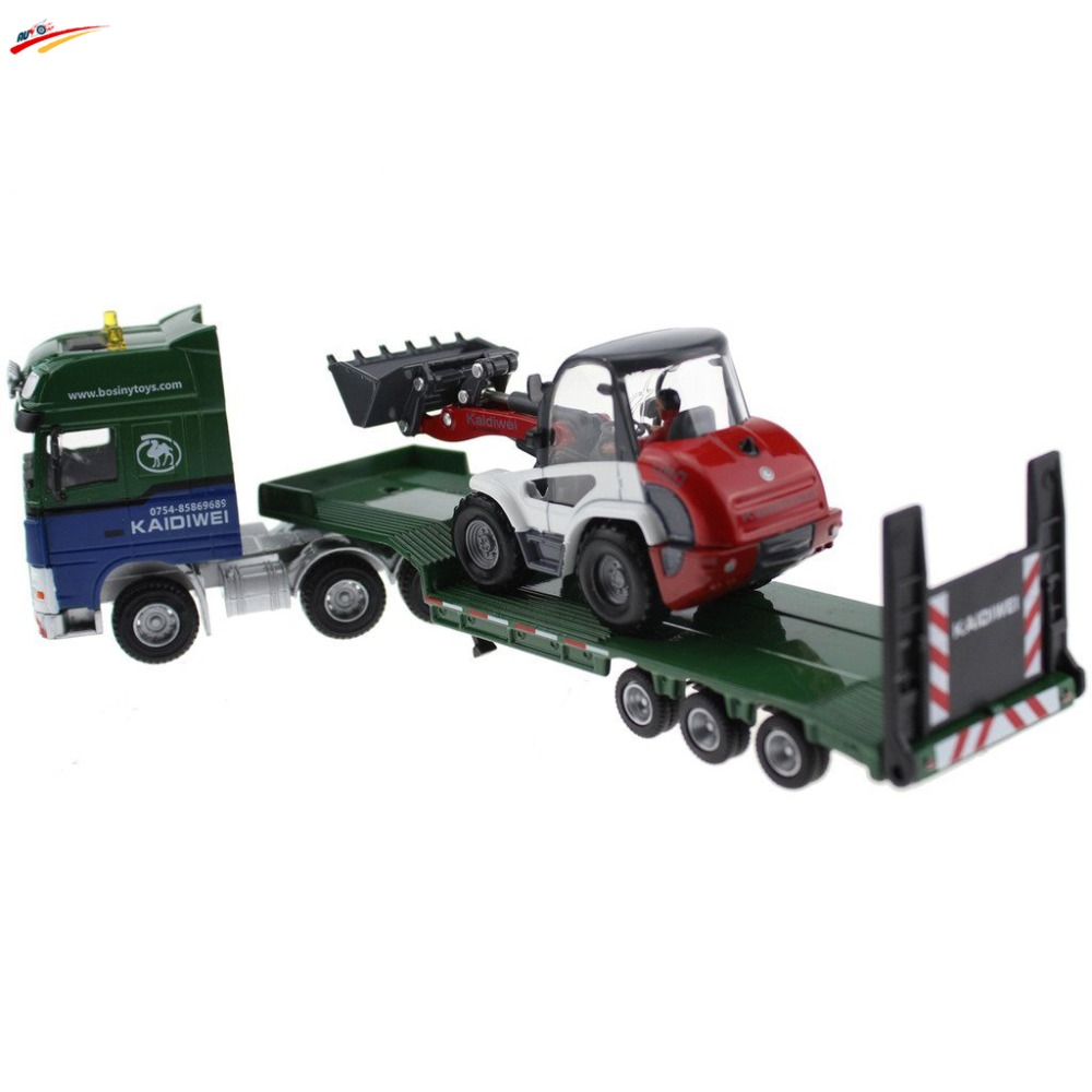 ФОТО 1:50 Low Loader With 4 Wheel Loader Vehicle Diecast Model
