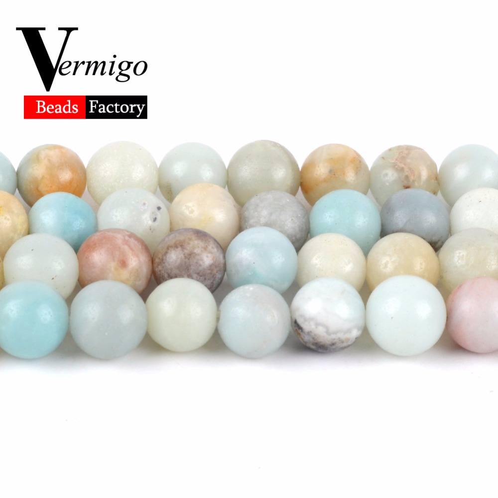 Factory Wholesale Smooth Amazonite Stone Beads Natural Minerals Gem Beads For Jewelry Making Diy Bracelet 4 6 8 10 12mm 15 quot Stra in Beads from Jewelry amp Accessories