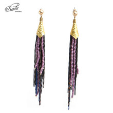 Badu Long Tassel Earrings for Women Chains Gold Plated Vintage Jewelry Beads Pendant Earring Christmas Fashion