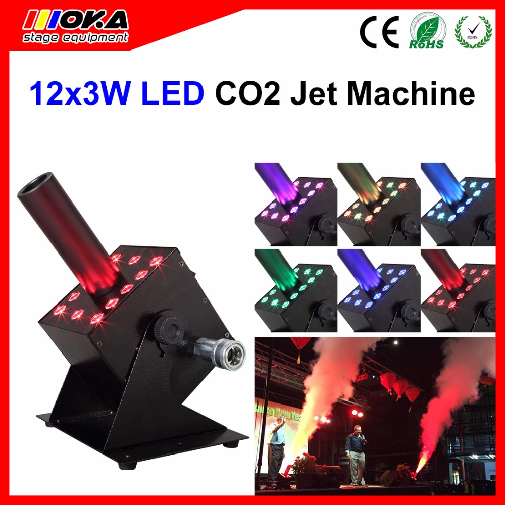In Stock Stage Dj party CO2 jet cannon machine12*3w led co2 jet machine shot 6-10m Fogger co2 machine
