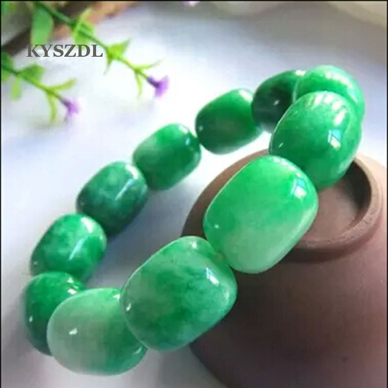 Chinese natural jade oil-green natural nephrite jade round bead  bracelets